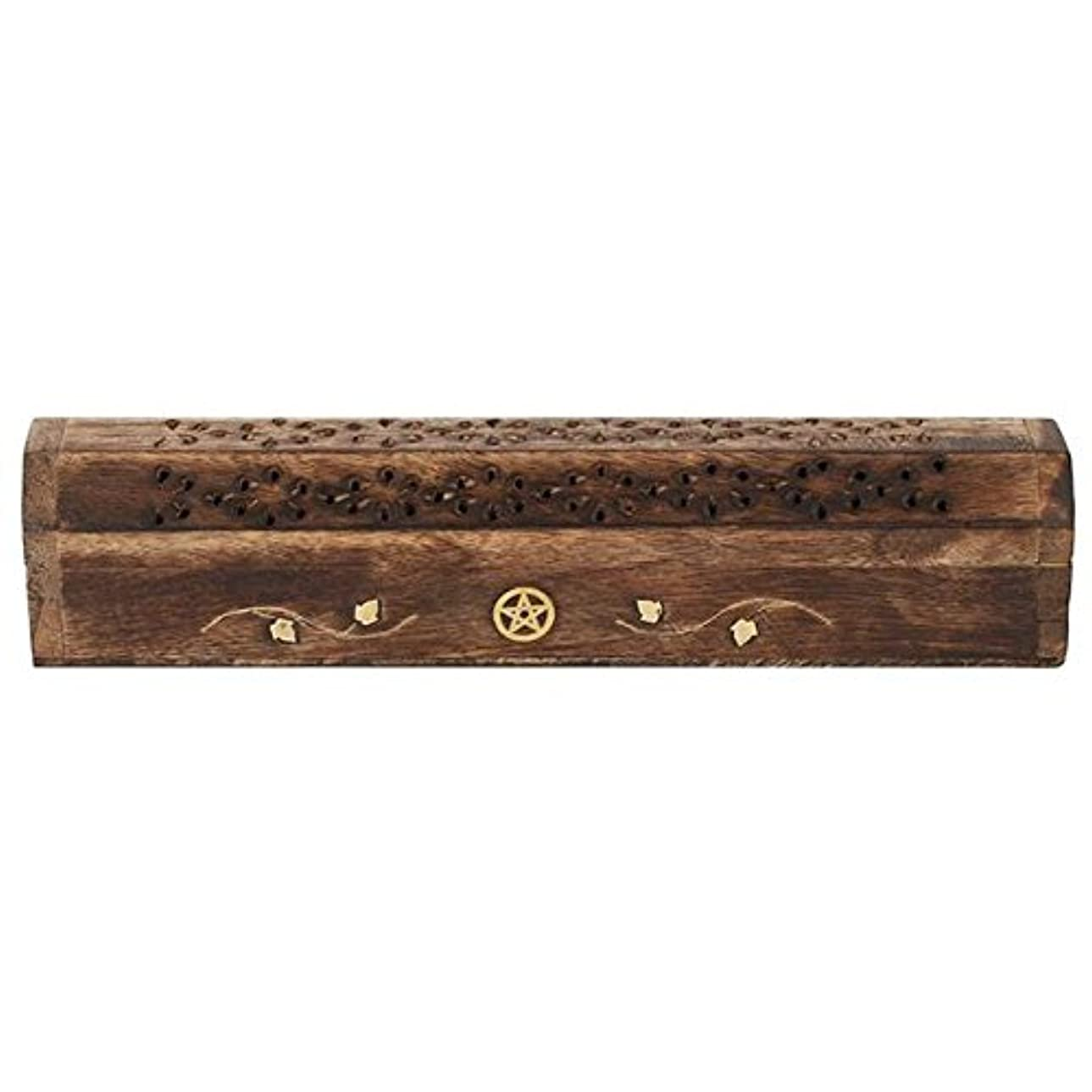怖がらせる日記マーキングMangowood Incense Box with Brass Pentagram Inlay