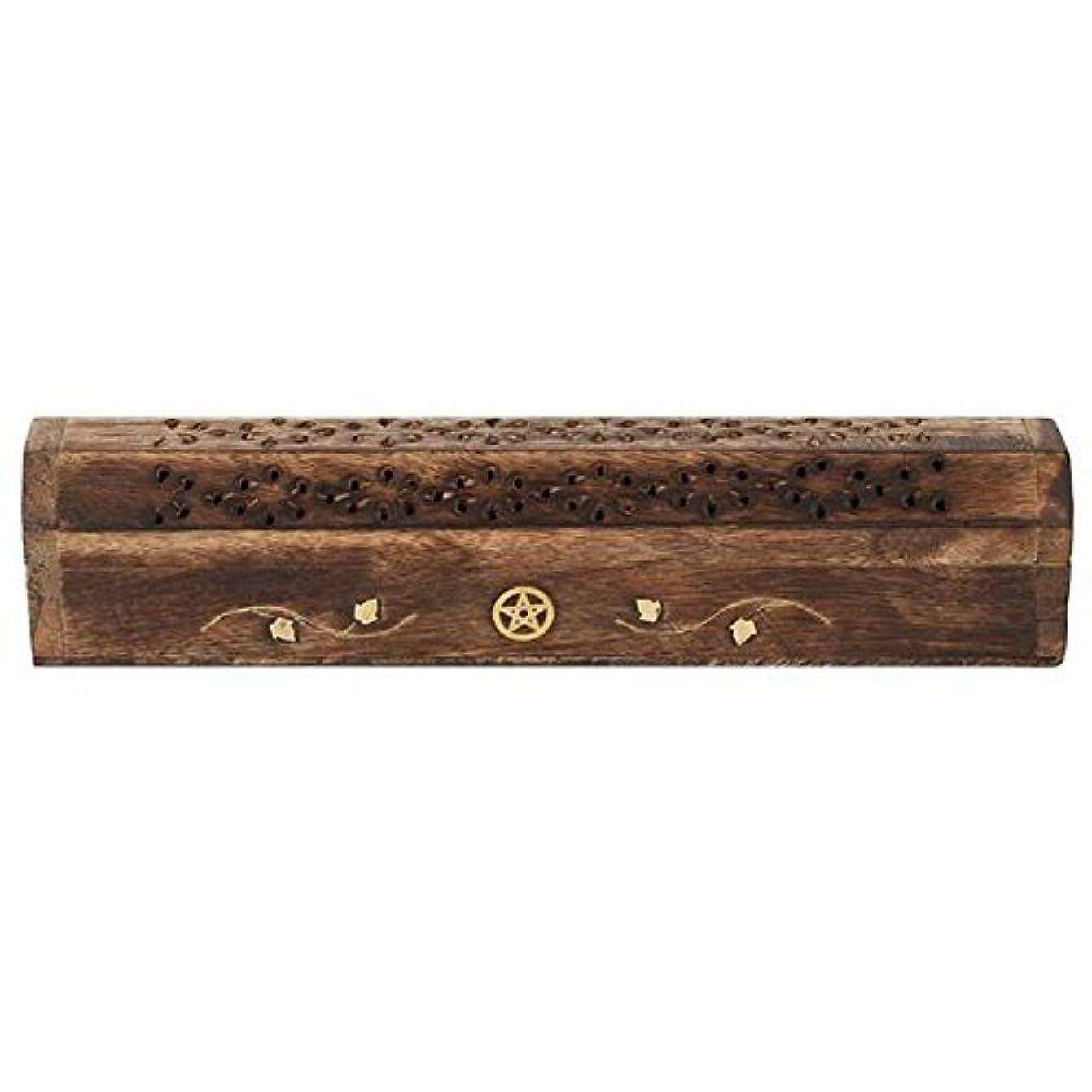 境界市町村デクリメントMangowood Incense Box with Brass Pentagram Inlay