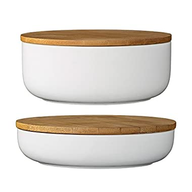 Bloomingville Ceramic Bowl Set with Bamboo Lids, White
