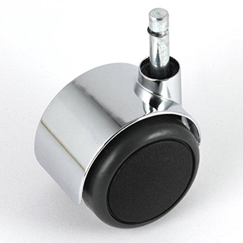 Möbelrolle Chrom ø 50 mm Klemmstift 8 mm ohne Bremse mit PU-Bereifung grau spurlos für harte Böden Hartbodenrolle