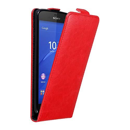 Cadorabo Hülle für Sony Xperia Z3 COMPACT in Apfel ROT - Handyhülle im Flip Design mit Magnetverschluss - Case Cover Schutzhülle Etui Tasche Book Klapp Style