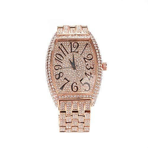 xHxttL Iced out Diamond Watch Reloj Hip Hop para Hombre Bling Bling Relojes de Pulsera de Rapero con Correas de Metal chapadas en Oro Plateado Joyas Hip Hop para Hombres