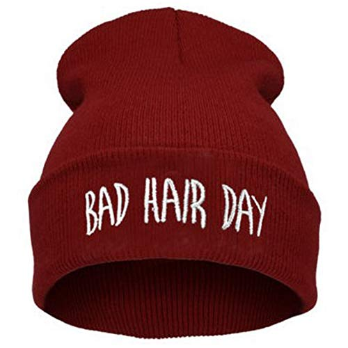 YPORE Fall Winter Fashion Bad Hair Day Caps Knit Beanie Hat for Women Men Green Black Gray Blue Pink