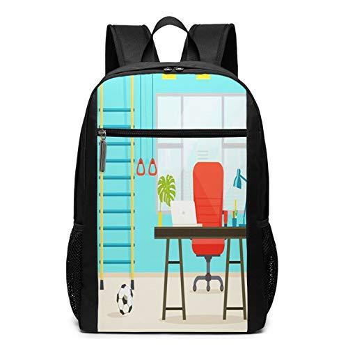 Schulrucksack Schreibtisch Fenster Tisch Stuhl Ball, Schultaschen Teenager Rucksack Schultasche Schulrucksäcke Backpack für Damen Herren Junge Mädchen 15,6 Zoll Notebook