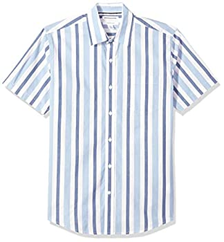Amazon Essentials Men s Regular-Fit Short-Sleeve Stripe Casual Poplin Shirt Blue/White Medium