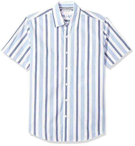 Amazon Essentials – Camisa informal de popelín a cuadros de manga corta de corte recto para hombre, Blue/White Stripe, US S (EU S)
