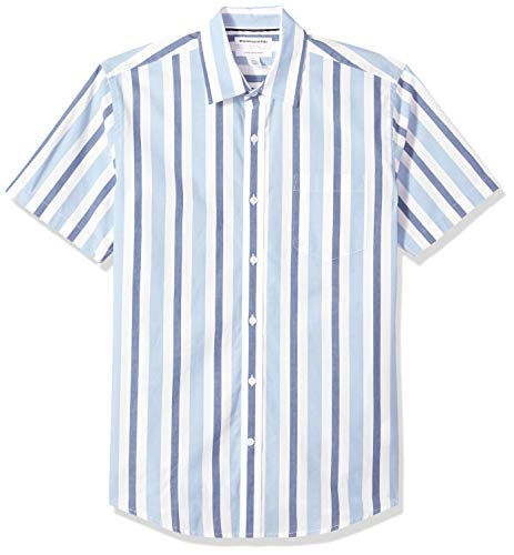 Amazon Essentials Men's Regular-Fit Short-Sleeve Stripe Casual Poplin Shirt, Blue/White, Large