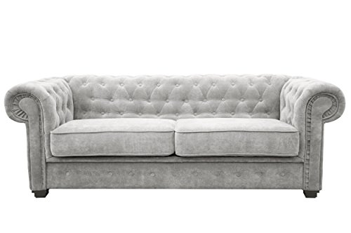 Chesterfield Style Sofa bed Venus 3 Seater 2 Seater Fabric Light Grey Settee (3seater, Light Grey)