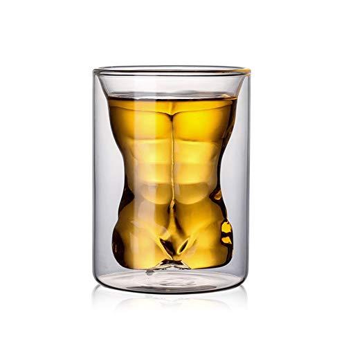 Copas de Cerveza de Cristal de Doble Pared Resistentes al Calor Atractivas Creativas, Transparentes
