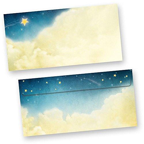 Briefhüllen Weihnachtsgeschichte (100 Stück ohne Fenster) wunderschöne Kuverts mit Sternen und Wolken (auch passendes Briefpapier erhältlich)
