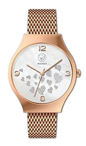 Hearts Pegasus Magnetschmuck Rose Gold Uhr mit vielen Herzen analog Automatik mit Edelstahl Armband Energetix 4you 3183