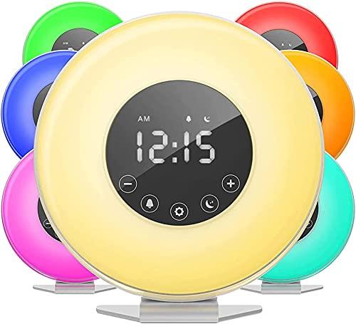 dh-10 Reloj despertador Sunrise LED digital con interruptor de 6 colores y radio FM para dormitorio, múltiples sonidos naturales, análogo de puesta de sol y control táctil-Snooze functio
