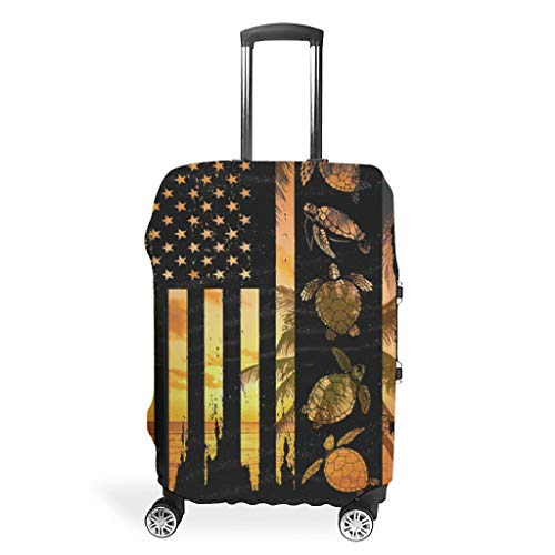 Turtle Flag Graphic Multiple Patterns Suitcase Protector High Elastic 18 to 32 Inch for Carry On Luggage White XL (76x101cm)