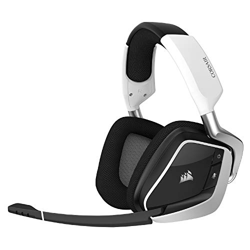 Corsair VOID RGB Elite Wireless Premium Gaming Headset with 7.1 Surround Sound - Discord Certified - Works with PC, PS5 and PS4 - White (CA-9011202-NA)