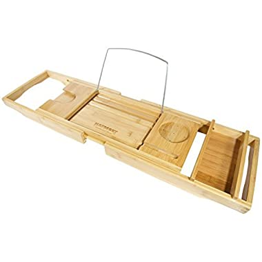 Bamboo Bathtub Caddy with Arms That Extend From 29.5 Up To 43 Inches, Bathtub Tray, Large Wine Glass Holder, iPhone Slot, Collapsible Book and iPad Holder, and Removable Accessories Tray