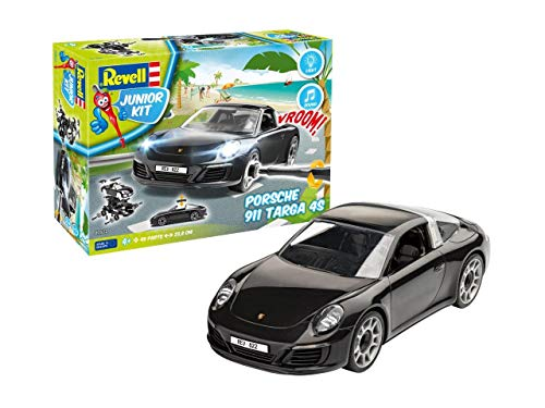 Revell Junior Kit 822 Porsche 911 Targa 4S 4 robust zum Basteln und Spielen im Maßstab 1:20 Level 1Modellbausatz für Kinder zum Schrauben 00822, bunt, Länge ca. 23,8 cm
