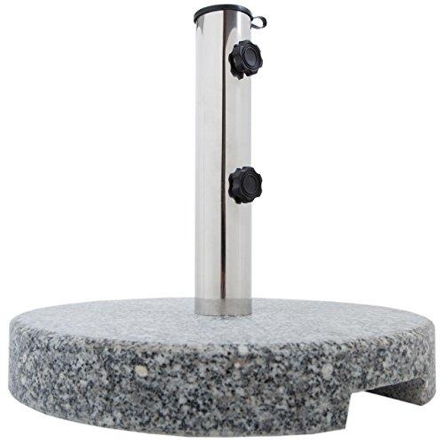 Anaterra Sonnenschirmständer, Schirmständer für Garten oder Balkon, aus Granit und Edelstahl, 20 kg, rund, mit Griffmulden