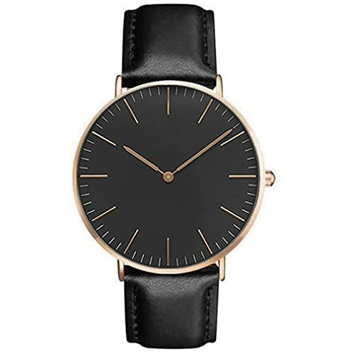 Sc099 Reloj De Cinturón De Estilo Simple Universal Reloj De Cuarzo para Estudiantes De Moda Unisex Oro Rosa + Negro