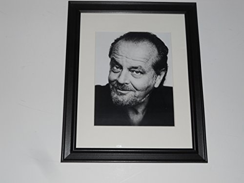 Framed Jack Nicholson 1990's Head Shot with Beard Poster Glass Frame 14' by 17'