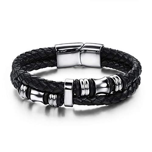 HKNZ Heren leren armband, titanium stalen handgeweven armband met een mooie sieradendoos als cadeau
