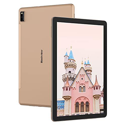 Blackview Tab10 Tablet 10 pollici FHD+ con 4G LTE+5G WIFI, Android 11,7480mAh Batteria,4GB RAM+64GB ROM,Octa-Core,128GBEspandibili, Fotocamera 13MP+8MP, Dual SIM GPS Face ID BT5.0 2-Speaker OTG-Oro