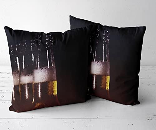 Juego de 2 fundas de almohada decorativas cuadradas. La funda de almohada cuadrada es adecuada para: coche, dormitorio, sala de estar, decoración del hogar, cerveza de 228 a 45 x 45 cm