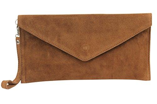 AMBRA Moda Damen Wildleder Envelope Clutch Handschlaufe Handtasche Schultertasche Unterarmtasche Damentasche Veloursleder WL801 (Cognac Braun)