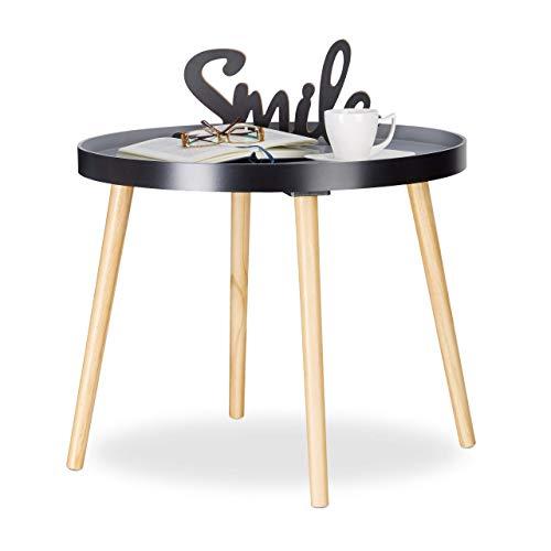 Relaxdays, Noir Gris d'appoint ronde, Design scandinave, Table de Salon ou Chevet, HxØ : 51 x 65 cm, Bois