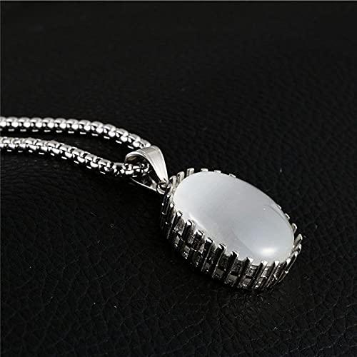YQMR Colgante Collar para Mujer,Collar De Mujer Grabado En Plata Clásico Vintage Blanco Cristal Ovalado Punk Colgante Amuleto Joyería Regalo para Mamá Cumpleaños Aniversario De Boda