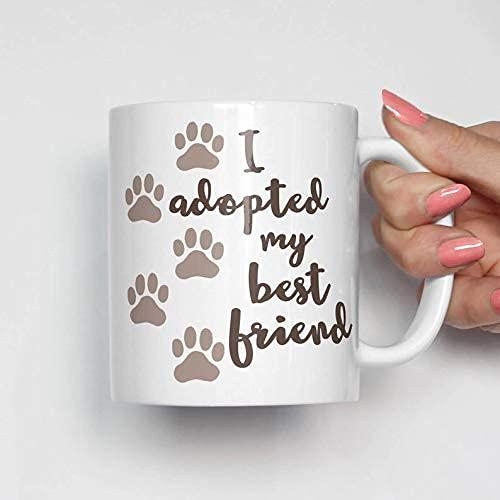 N\A Taza de adopción de Mascotas, Taza de Mascota adoptada, Taza de Mascota, Taza de Adoptar Don 't Shop, Regalo de Mascota, Taza de Animal, Taza con Estampado de Pata, Amo a mi Mascota, Taza de café