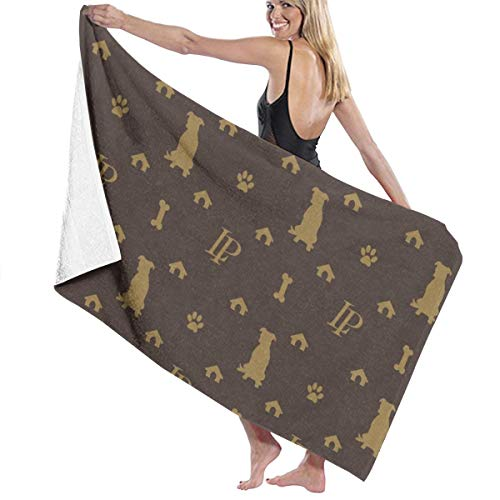 Tsjkwo Louis Pitbull Luxury Dog Bling Pattern Quick-Drying Beach Towel The Best Lightweight Bath Towel for Swimming Beach (32 x 52) inches