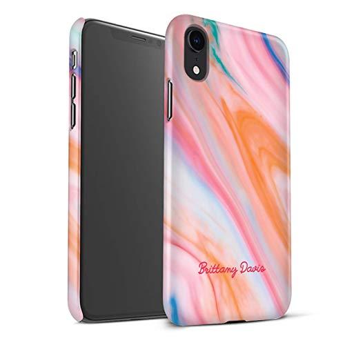 gepersonaliseerd mat telefoonhoesje voor Apple iPhone XR gedrukt op maat marmer koraal stempel ontwerp initiële naam doe-het-zelf mat hard klikdeksel