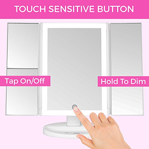Absolutely Luvly Trifold Vanity Mirror with Lights | LED Makeup Mirror with Lights and Touch Screen Dimming - 1x 2x 3x Magnification - Portable Lighted Makeup Mirror | Great Vanity Mirror with Lights