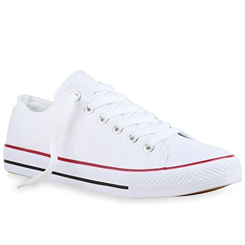 stiefelparadies Herren Schuhe Sneakers Sportschuhe Freizeit Schuhe Schnürer Stoffschuhe 138308 Weiss Rotstreifen 36 Flandell