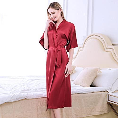 Eantpure Asciugamani da Bagno,Lungo Simulazione Pigiama di Seta Camicia da Notte Accappatoio-Jujube Red_XL #,Towel