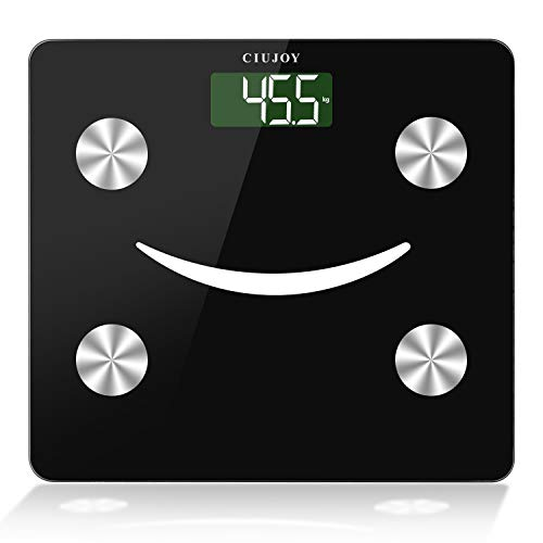 CIUJOY Körperfettwaage Digital Personenwaagen Bluetooth Körperanalysewaage mit App und 23 Körperdaten für Körperfett, BMI, Muskelmasse, Protein, BMR