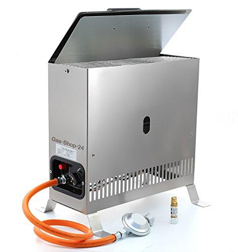 Edelstahl Gewächshausheizung/Frostwächter 2 kW mit Gasschlauch, Druckminderer u. Schlauchbruchsicherung (Gasheizung, Heizung, Standheizung, Gewächshaus, Gartenhaus, Campingheizung)