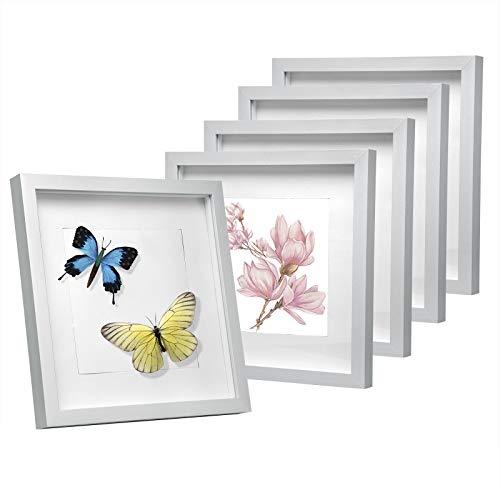 EUGAD e809-5 5er Set Bilderrahmen Fotogalerie, Holzrahmen mit Papier-Passepartout, mit Glasscheibe, 3D Objektrahmen, Silber, 30x30cm