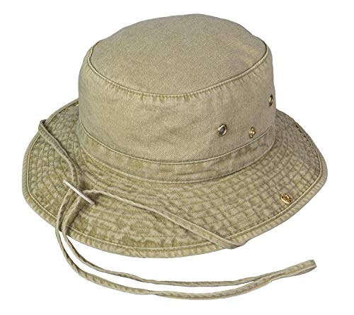 Broner Washed Cotton Floater Hat with Chincord, Khaki, Large