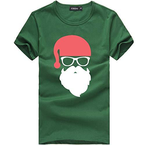 KPILP Frohe Weihnachten Lustiges Weihnachtsmann Geschenk Rundhals Kurzarm T-Shirt Bluse Weihnachten T-Shirt Xmas Männer Tshirt Christmas Shirt