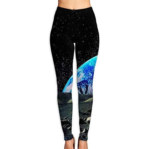 JJsister Pantalones de Yoga, Women's Trippy Space Earth HD Printed Leggings Full-Length Yoga Workout Leggings Pants Soft Capri