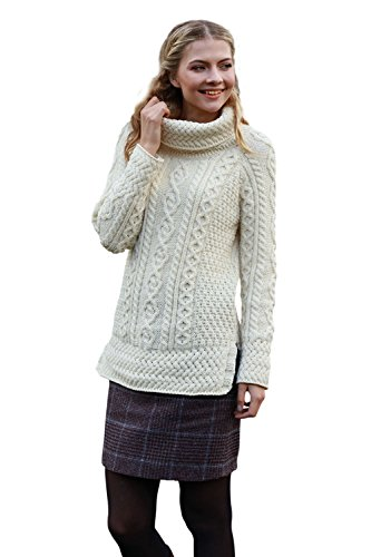 Aran Tunic Sweater With Vented Roll Neck Natural, White, XL
