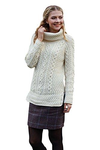Carraig Donn, Damen-Rollkragenpullover aus 100% Merinowolle, atmungsaktiv, naturfarben, White, S