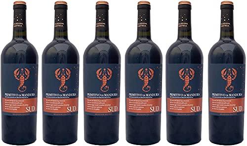 6 er Vorteilspaket SUD Primitivo di Manduria (Etikett mit Skorpion) DOP 2019 | Feudi di San Marzano | 6 X 0,75 L | Rotwein aus Italien | trocken