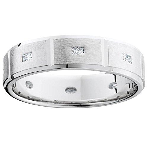 Para hombre anillo de diamante cuadrado corte princesa cepillo acabado boda banda oro blanco de 14K