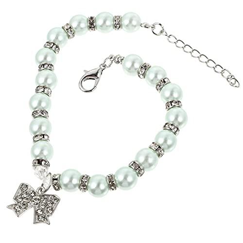STOBOK Collar de Perro con Perlas Joyería para Perros Pequeños con Diamantes de Imitación Gato Collar de Boda para Mascotas Linda Taza de Té Chihuahua Ropa de Yorkkie Trajes de