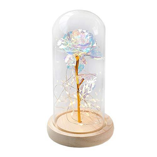 MagiDeal Funda de Cristal Rosa Eterno Artificial luz LED con Caja romántica Flor Boda Aniversario Madre Día Novia San Valentín Regalo hogar Decoración