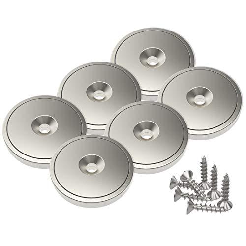 Magnetpro 6 Stück Scheiben Magnete mit Kapsel 20 KG Zugkraft 28 x 5 mm, Topfmagnet mit Schrauben