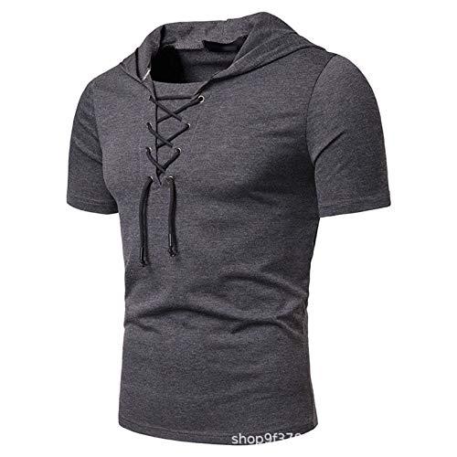 SSBZYES Camisetas De Hombre Camisetas De Manga Corta para Hombre Camisetas De Manga Corta De Moda para Hombre Polos Cardigans De Color Liso con Tirantes Camisetas De Manga Corta Tops De Hombre