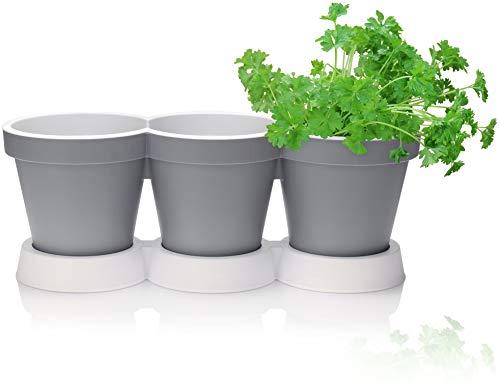 com-four® 3er Kräutertopf mit Untersetzer - Pflanzentopf für Blumen und Kräuter - Deko Blumentopf für Garten, Balkon und Wohnung (1 Stück - Mit Untersetzer grau)
